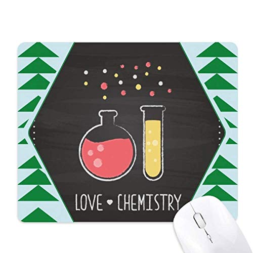 Round Bottom Flask Test Tube Chemistry Mouse Pad Green Pine Tree Rubber Mat