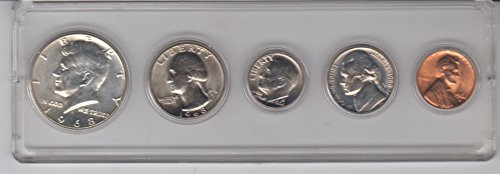 1968 Birth Year Coin Set (5) Coins - Half dollar, Quarter, Dime, Nickel, and Cent All Dated 1968 and Encased in Plastic Display Case Choice Uncirculated