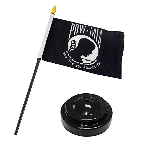 ALBATROS POW MIA Powmia Prisoner of War 4 inch x 6 inch Flag Desk Set Table Stick with Black Base for Home and Parades, Official Party, All Weather Indoors Outdoors