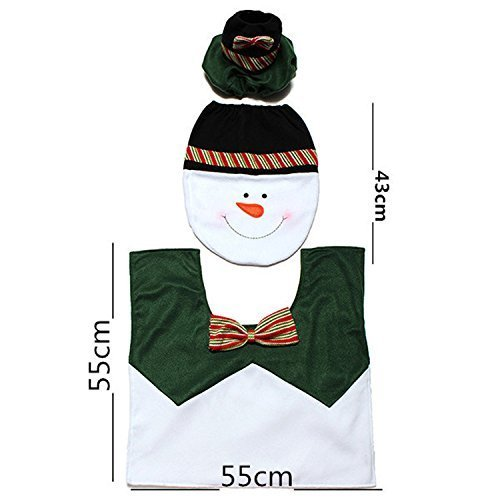 Romote WC Natale imposta verde pupazzo di neve tre set