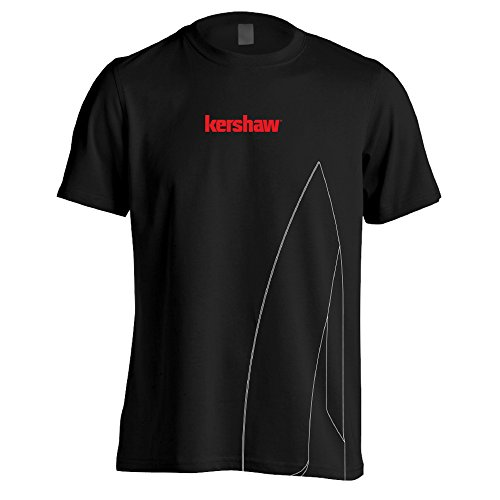 Kershaw Large Short Sleeve Black Tee Shirt with Large Knife Blade Silhouette and Red Logo; Taped Shoulders; Double Needle Stitching at Collar; Tag-Free Neck Label; 100% Preshrunk Cotton