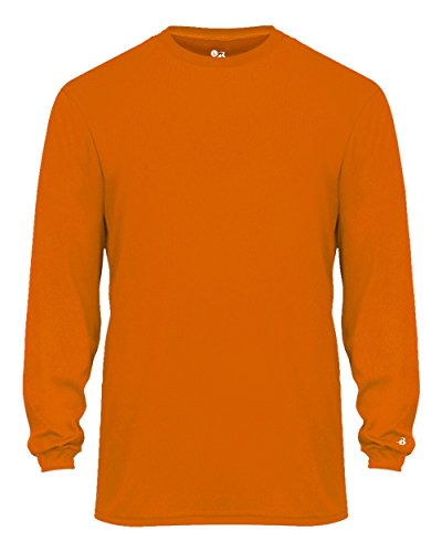 Antimicrobial Long Sleeve Jersey - Bright Orange Adult Large Long Sleeve Performance Wicking Athletic Sports Shirt/Undershirt/Jersey