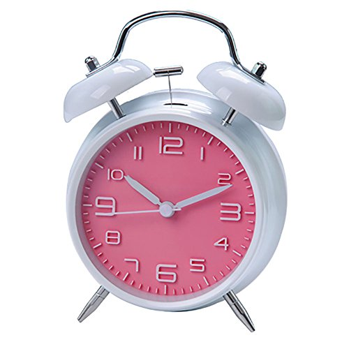 "INNOLIFE 4"" Quiet Non-Ticking Silent Quartz Analog Retro Vintage Bedside Twin Bell Alarm Clock with Loud Alarm and Nightlight (Retro Pink)"