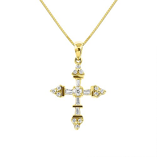Baguette Yellow Cross - Baguette and Round Diamond Cross Necklace 14K Yellow Gold 0.30 CTTW Diamonds