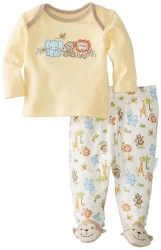 Vitaminas BABY BABY-Boys recién nacido Mono y Amigos 2 Paquete Conjunto de pijama,