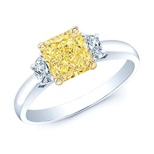 Platinum & 18K Yellow Gold Radiant Cut Fancy Yellow Diamond (1.58 ct. t.w) Engagement Ring, Size 6 - Fancy Yellow Radiant Cut Diamond