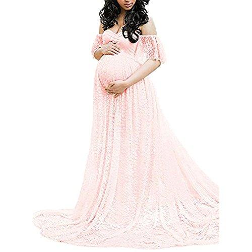 DHLP Vestido de Maternidad Mujer Fiesta Largos Boda Mujer Embarazada Vestidos Faldas de Maternidad Apoyos de Fotografía Playa Rosado