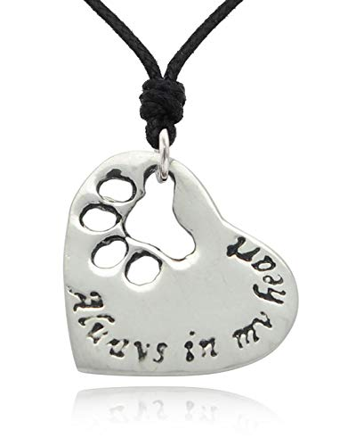 (Vietguild Dog Paw Silver Pewter Charm Necklace Pendant Jewelry)