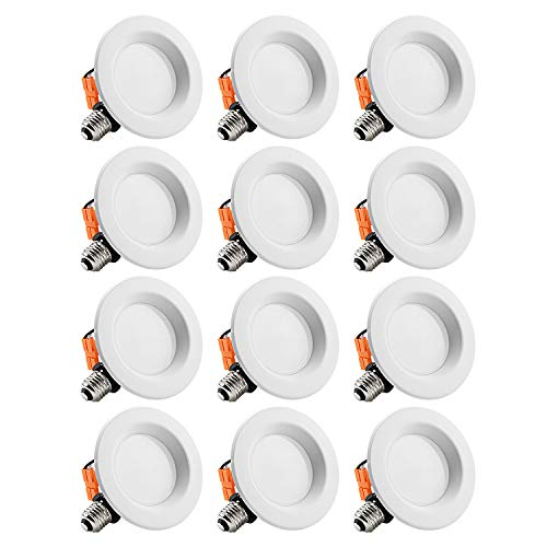 - TORCHSTAR 12-Pack 4-Inch Dimmable Recessed LED Downlight with Smooth Trim, 10W (65W Eqv.), CRI 90, ETL, 2700K Soft White, 700lm, LED Retrofit Lighting Fixture, 5 Years Warranty