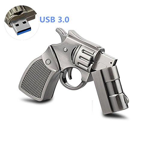WooTeck 64GB Metal Revolver Gun USB 3.0 Flash Drive Livid]()