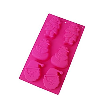 boyagirl Red Rosa Navidad molde para tartas falda Deco silicona DIY de muñeco de nieve Papá Noel molde Chocolate Pudding Jello jabón: Amazon.es: Hogar