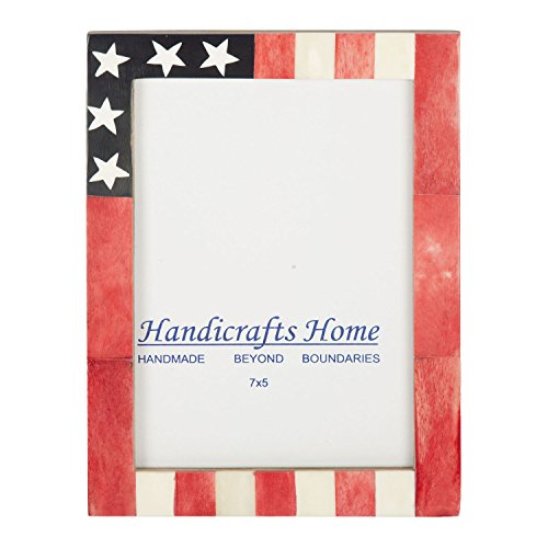 USA American Flag Picture Photo Frame Souvenirs Handmade Naturals Bone Frames from Handicrafts Home For Photo Size 4X6 & 5x7 Inches - Flag Frames American