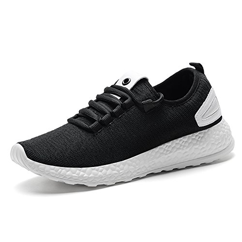 KONHILL Women Breathable Casual Sneaker Athletic Running Shoes Lightweight Workout Walking Shoes,Black,35
