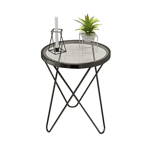 Tables Jcnfa Side Small Coffee Glass Wrought Iron Cross Design Small Round Living Room Sofa Side,2 Color (Color : Black, Size : 18.5024.40in)