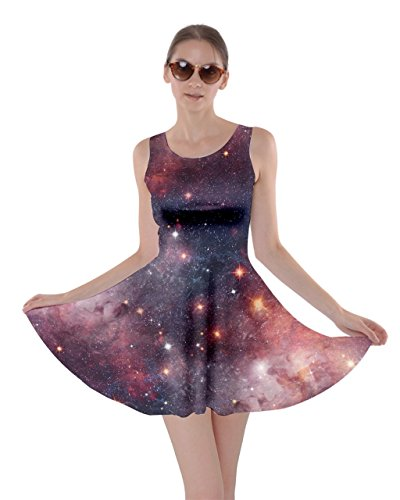 CowCow Womens Jupiter Space Skater Dress, Royal Blue - -