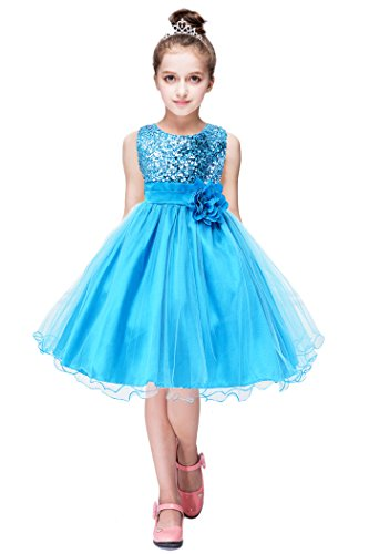 YMING Girls Sequin Maxi Dress Tutu Party Dress Wedding Party Dress Blue 9-10 Years