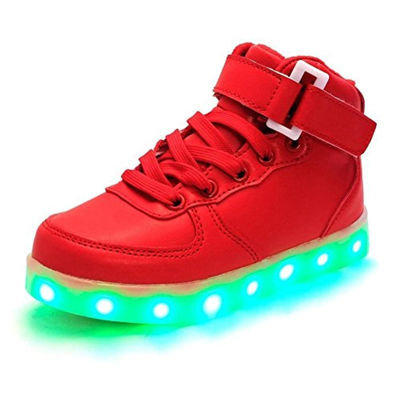 LASYMIE Kid Boy Girl Upgraded USB Charging LED Light Sports Shoes Flashing Sneakers (2.5 Child UK, Black)