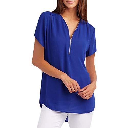 (Wobuoke Womens Blouses 2019 Summer 1/4 Zipper Tops T-Shirt Loose Tee Roll Up Short Sleeve Flowy Shirt Blue)