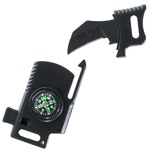 Tactical Knife Utility Multi-Tool Buckle – Contains Knife, Whistle, Compass, Scraper, and Flint Fire Starter Rod– Great for Survival, Camping, Hiking, Fishing, and - Knives Tactical Coast