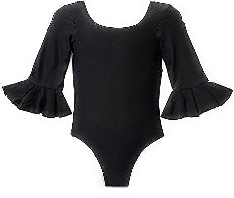 713323858f La Señorita Body Flamenco Danza Sévillane para niña negro con volantes  (Talla 6 - 5. Cargando imágenes.