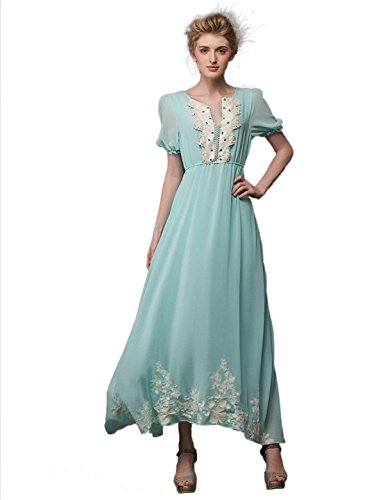 Yacun Women's Vintage Embroidered Chiffon Swing Maxi Casual Dress LE0721-001