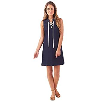 Mud Pie Women Sky Lace-Up Denim Sleeveless Dress Navy (Small)