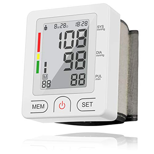 [2019]Digital Wrist Blood Pressure Monitor, Automatic BP with 90 Readings Memory Function, 2-User, LCD Large Screen, Accurate Fast Reading, Adjustable Cuff Perfect for Health Monitoring- FDA Approved