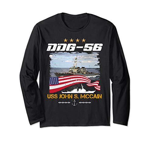 DDG-56 USS John S. McCain 4th of July USA Flag Warship Long Sleeve - Mccain Flag