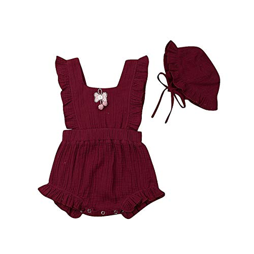 Infant Baby Girls Ruffle Romper Jumpsuit Bodysuit + Hat Cap Summer Clothes Outifis (Wine Red, 6-12 Months)