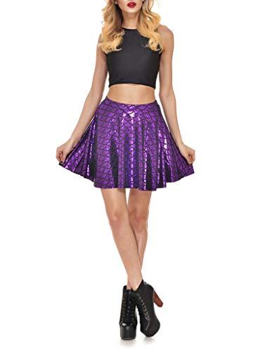 Yiyilai Femme Elégante Courte Jupe Anniversaire Haute Taille Club Soirée Violet Eté 29IWYeEDH
