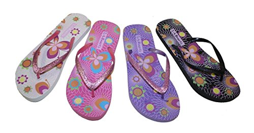 Footbed Straps Pink With Print With Butterfly Gillter Flop Flowers Flip Comportable Womens aAZWnSHPvS