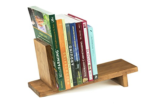 Wisewood Book Ends Slant Shelf, Small Rustic Book Rack and Organizer, Natural Wood Pine, Made in USA (Book Size Rack)