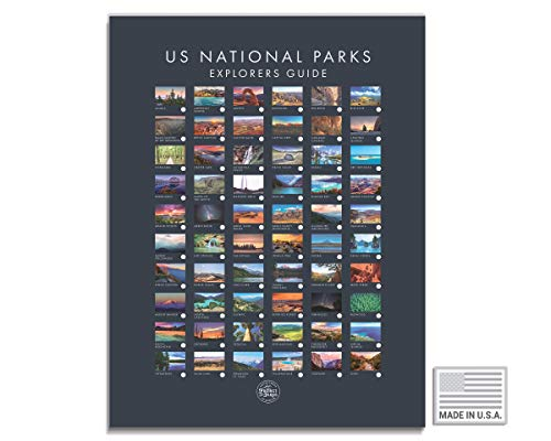 USA National Park Map - Interactive Educational Travel Map With All 60 US National Parks - Made in the USA - Mark Your Travels Through Our Beautiful National Parks (17 x 24 Inch, Grey)