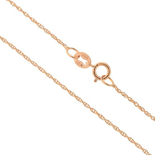 14k Rose Gold Italian 0.90mm Delicate Rope Chain Necklace, -