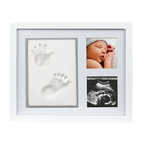 Pearhead Babyprints Newborn Baby Print Baby Handprint and Footprint Photo Frame Kit, No Bake Clay Keepsake, Newborn Baby Registry Must Haves, Baby Shower Gift, White ()