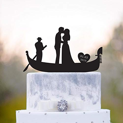 Gondola Wedding Cake Topper,Venice Wedding Cake Topper,Italian Wedding Cake Topper,Romantic Cake Topper