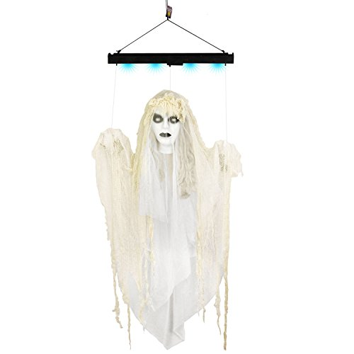 Halloween Haunters Animated 4 Foot Hanging Floating Scary Ghost Lady Prop Decoration - Arms & Head Float Up & Down, Eerie Laughs, Blue Lights - Battery Operated (Animated Halloween Pictures)