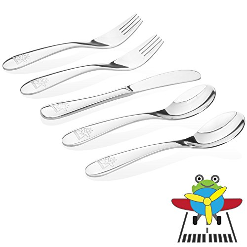 Kiddobloom Kids Stainless Steel Utensil Set,Airplane Model, set of 5 (2 Spoons, 2 Forks, and 1 Butter Knife) Perfect for Preschoolers - Aisi 304 Stainless Steel
