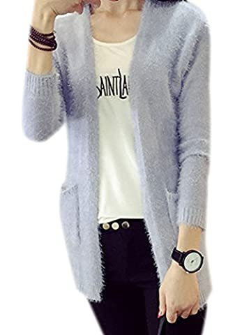 Fortuning's JDS Women's Girl's Solid Color Furry Mohair Cardigan Stretchy Sweater