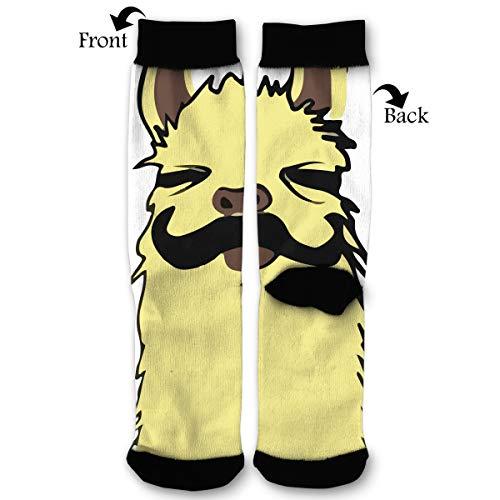 Mustache Llama Classic Dress Cotton Socks Comfortable Breathable Over-The-Calf Tube 40cm