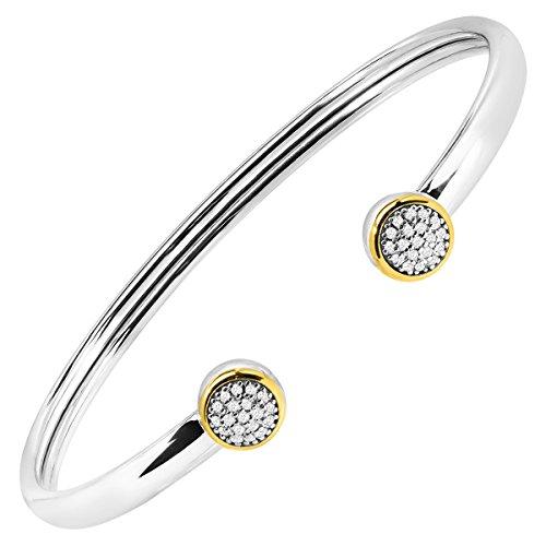 1/5 ct Diamond Circle Cuff Bracelet in Sterling Silver & 14K Gold 14k Gold Circle Cufflinks