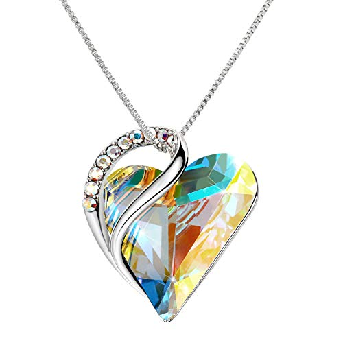 IRICH Love Heart Pendant Necklaces Crystal Jewelry Gifts for Women Rhinestone Silver Chain with Elegant Box for Party/Anniversary Day/Birthday, Multicolored Crystal