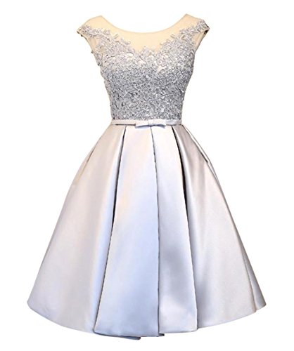 LanierWedding Short Homecoming Dresses Lace Floral Lace up Prom Party Dresses for Wedding 2017 Silver Size 2