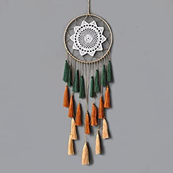 Artilady Macrame Dream Catchers for Bedroom - Tassel Wall Hanging Handmade Dreamcatchers Home Decor with Tassel Feather Ornament Craft Blessing Gift (Green Mix)