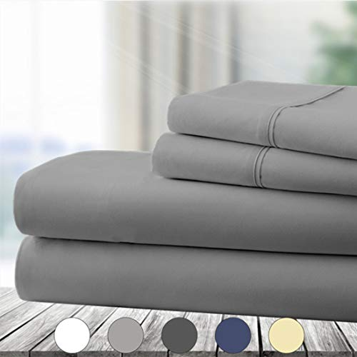 Abakan Queen Bed Sheet Set 4 Piece Super Soft Brushed Microfiber 1800 Thread Count Hotel Luxury Egyptian Sheet Breathable, Wrinkle, Fade Resistant Deep Pocket Bedding Sheet Set (Queen, Grey) (Sheets Bedding)