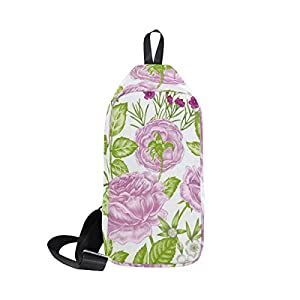 Sling Bag Funny Flower Leaf Womens Chest Shoulder Backpacks Crossbody Single Bag Pack