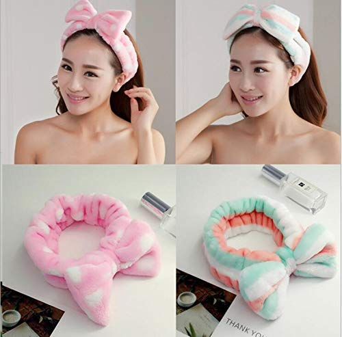 Women's Headwear Hair Bow Dot Striped Coat Soft Shower Bath Spa Hair Band Hair Makeup Cute Rich Elastic mix color Size fits all