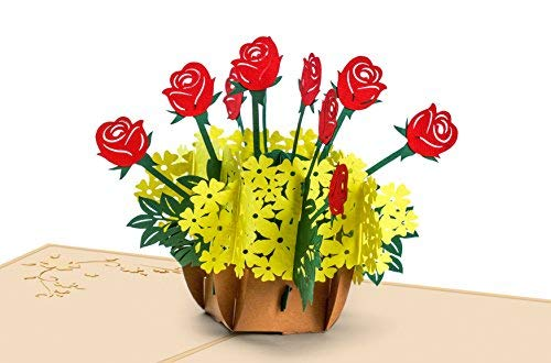 Flower Basket POP UP Card, 3D, Christmas Cards, Mothers Day Card, Springtime Card, Birthday Cards, Graduation Card, Valentine's Day Card, Romance Card, Anniversary Card, Wedding Card