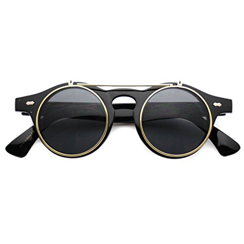 Flip up Cyber Steampunk Round Circle Retro Sunglasses (Black/Gold Rimmed, - Glasses Steampunk