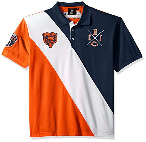 - Chicago Bears Cotton Rugby Polo Diagonal Stripe Large